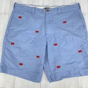 J Crew Embroidered Oxford Gramercy Short Lobster